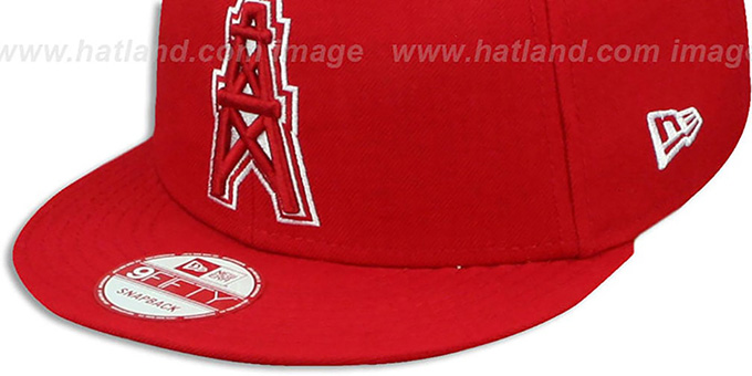 Oilers 'THROWBACK TEAM-BASIC SNAPBACK' Red-White Hat by New Era