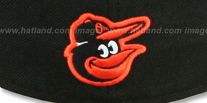 Orioles 'SCRIPT-PUNCH' Black-Orange Fitted Hat by New Era