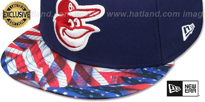 Orioles 'USA WAVING-FLAG' Navy Fitted Hat by New Era