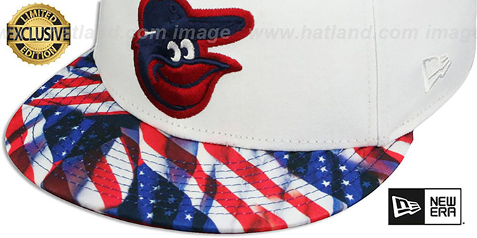 Orioles 'USA WAVING FLAG SNAPBACK' White-Flag Hat by New Era