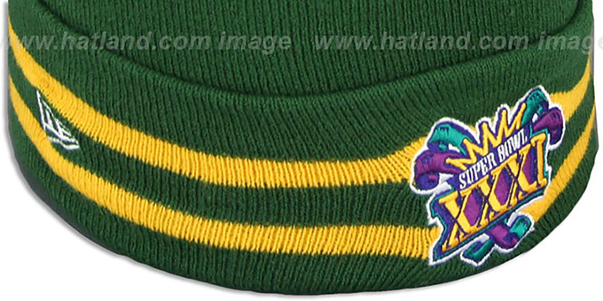 Packers 'SUPER BOWL XXXI' Green Knit Beanie Hat by New Era