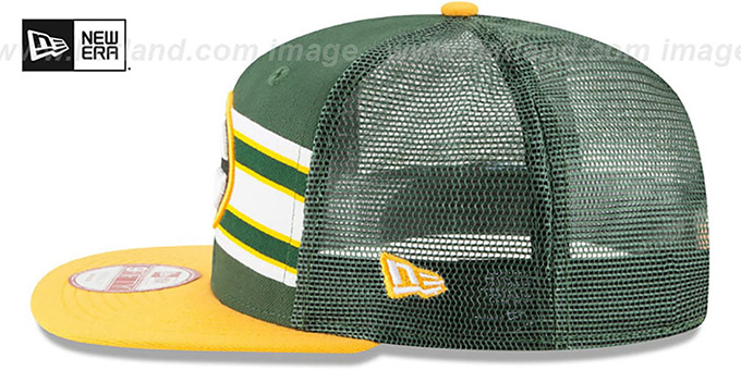 Packers 'THROWBACK-STRIPE SNAPBACK' Green-Gold Hat by New Era