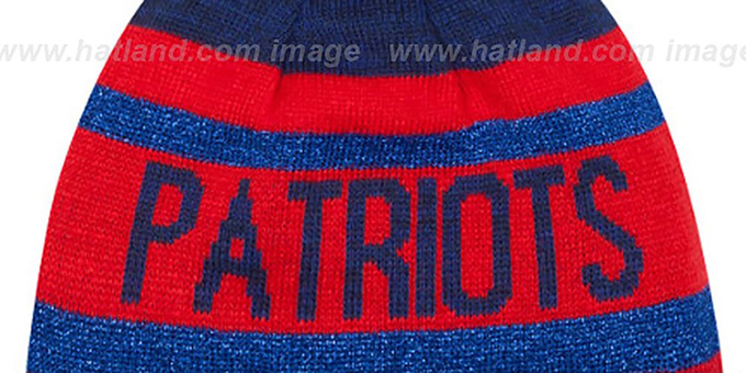 Patriots 'METALLIC STRIPE' Navy-Red Knit Beanie Hat by New Era