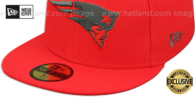 675459f142d ... Patriots 'NFL TEAM-BASIC' Fire Red-Charcoal Fitted Hat by New Era