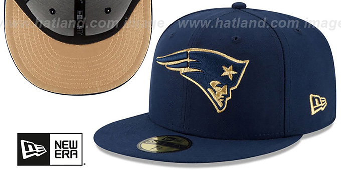 Patriots 'SUPER BOWL XXXVIII GOLD-50' Navy Fitted Hat by New Era