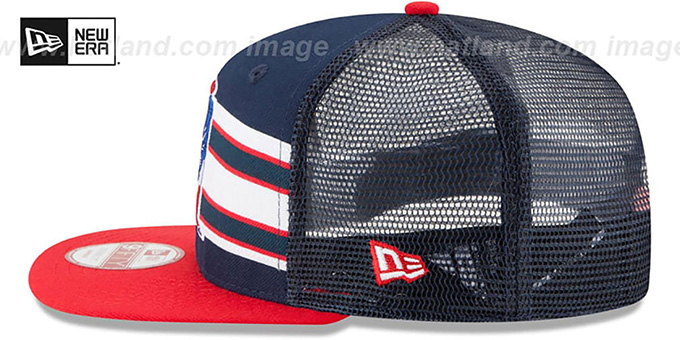 Patriots 'TB THROWBACK-STRIPE SNAPBACK' Navy-Red Hat by New Era