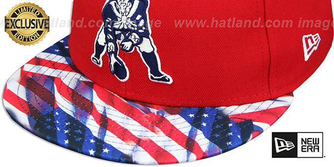 Patriots 'THROWBACK USA WAVING-FLAG' Red Fitted Hat by New Era
