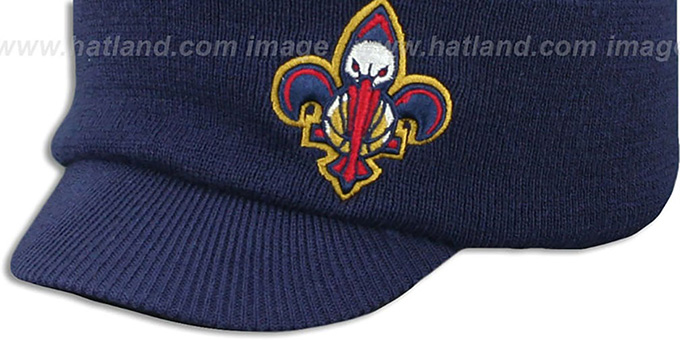 Pelicans 'CUFFED-VISOR KNIT BEANIE' Navy Hat by Mitchell and Ness