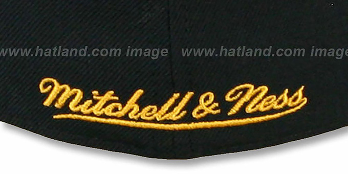 Penguins '2T XL-LOGO' Black-Gold Fitted Hat by Mitchell and Ness