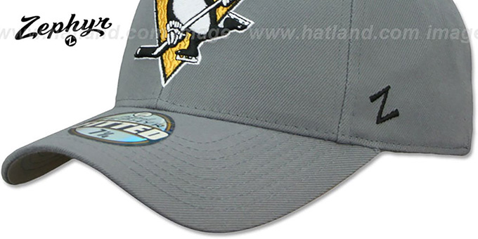 Penguins 'SHOOTOUT' Grey Fitted Hat by Zephyr