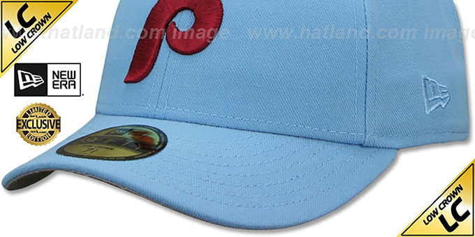 Phillies '1973-86 LOW-CROWN VINTAGE' Sky Fitted Hat by New Era