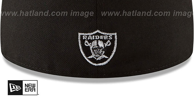 4a2a1dfa4d684b ... Raiders 'SILVER STATED METAL-BADGE' Black Fitted Hat by New Era