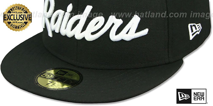 Raiders 'NFL TEAM-SCRIPT' Black Fitted Hat by New Era
