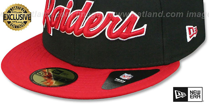 Raiders 'NFL TEAM-SCRIPT' Black-Red Fitted Hat by New Era