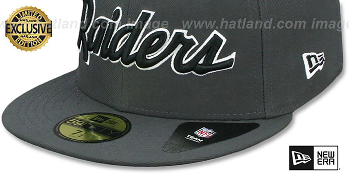 Raiders 'NFL TEAM-SCRIPT' Charcoal Fitted Hat by New Era