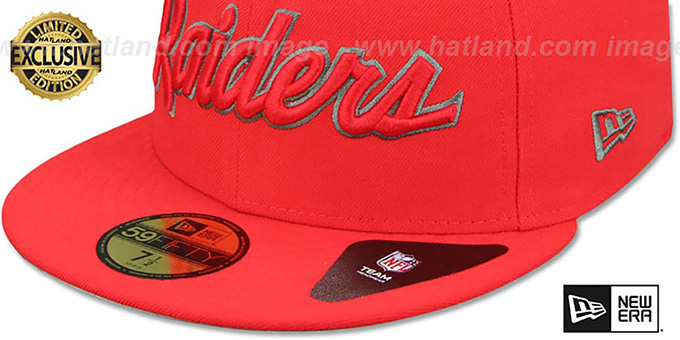 58c23e4837dd2f ... Raiders 'NFL TEAM-SCRIPT' Fire Red-Fire Red Fitted Hat by New