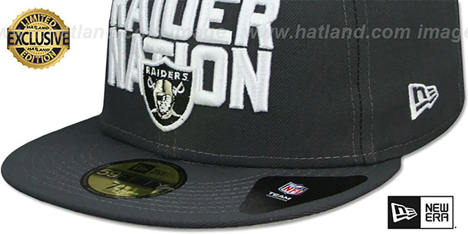 Raiders 'RAIDER-NATION' Charcoal-White Fitted Hat by New Era