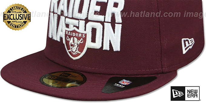 Raiders 'RAIDER-NATION' Maroon-White Fitted Hat by New Era