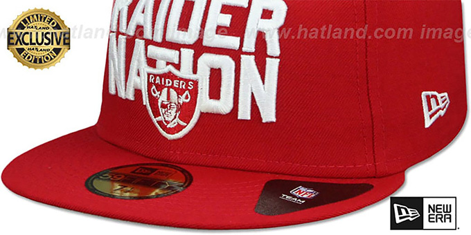 0df840408 ... Raiders  RAIDER-NATION  Red-White Fitted Hat by New Era