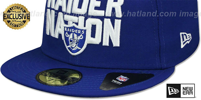Raiders 'RAIDER-NATION' Royal-White Fitted Hat by New Era