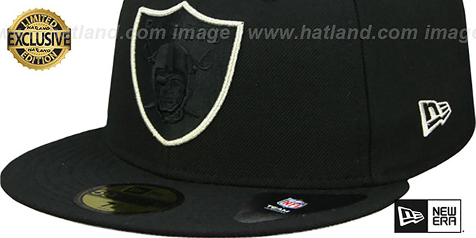 Raiders 'TONAL-POP' Black-Silver Fitted Hat by New Era