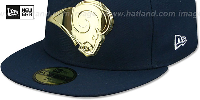 Rams 'GOLD METAL-BADGE' Navy Fitted Hat by New Era