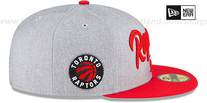Raptors 'ROPE STITCH DRAFT' Grey-Red Fitted Hat by New Era