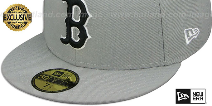 Red Sox 'TEAM-BASIC' Grey-Black-White Fitted Hat by New Era