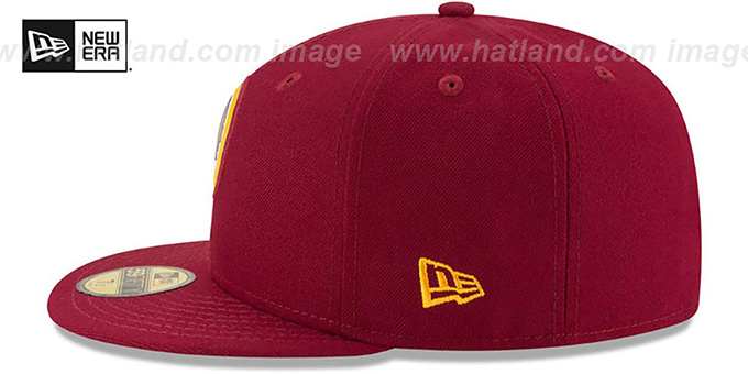 Redskins 'BEVEL' Burgundy Fitted Hat by New Era