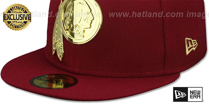 Redskins 'GOLD METAL-BADGE' Burgundy Fitted Hat by New Era
