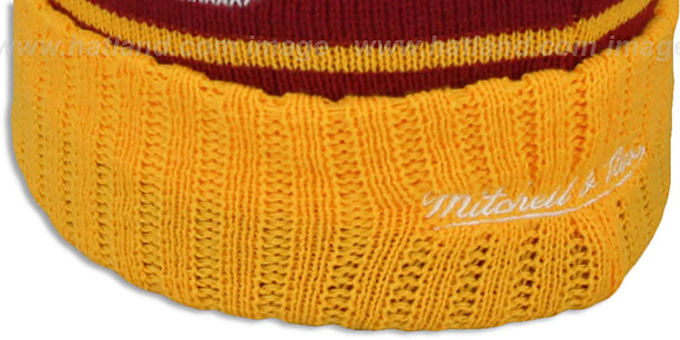Redskins 'HIGH-5 CIRCLE BEANIE' Burgundy-Gold by Mitchell and Ness