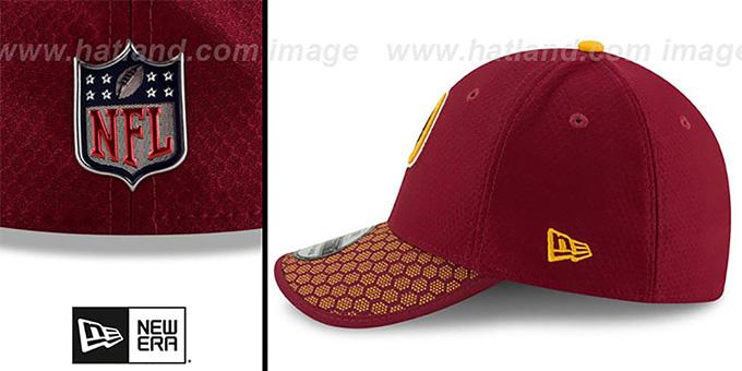 a04a50375 ... Redskins  HONEYCOMB STADIUM FLEX  Burgundy Hat by New Era