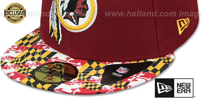 Redskins 'MARYLAND-FLAG' Burgundy Fitted Hat by New Era