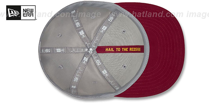 Redskins 'ROAD ONFIELD STADIUM' Grey-Burgundy Fitted Hat by New Era