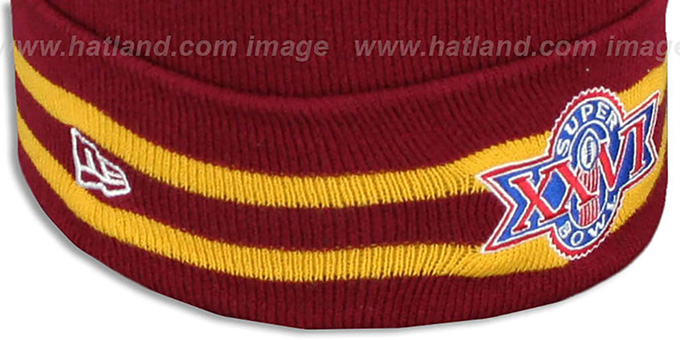 Redskins 'SUPER BOWL XXVI' Burgundy Knit Beanie Hat by New Era
