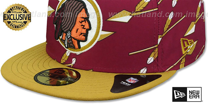 Redskins 'THROWBACK SPEARS  ALL-OVER' Burgundy Fitted Hat by New Era