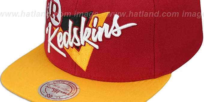 Redskins 'TRIANGLE-SCRIPT SNAPBACK' Burgundy-Gold Hat by Mitchell and Ness
