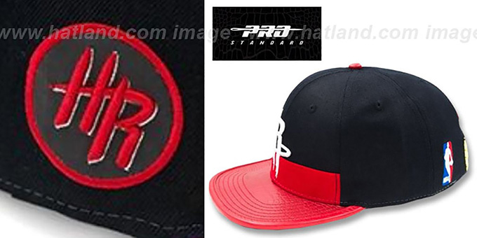 Rockets 'HORIZON STRAPBACK' Black-Red Hat by Pro Standard