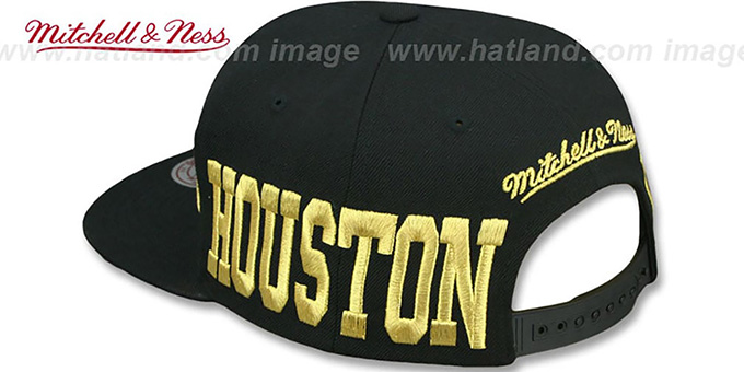 Rockets 'METALLIC AREA-CODE SNAPBACK' Black Hat by Mitchell and Ness