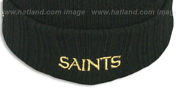 Saints 'SUPER BOWL PATCHES' Black Knit Beanie Hat by New Era