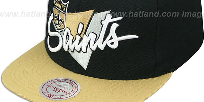 Saints 'TRIANGLE-SCRIPT SNAPBACK' Black-Gold Hat by Mitchell and Ness