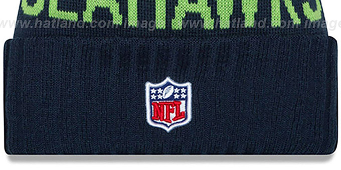 Seahawks '2015 STADIUM' Navy-Lime Knit Beanie Hat by New Era