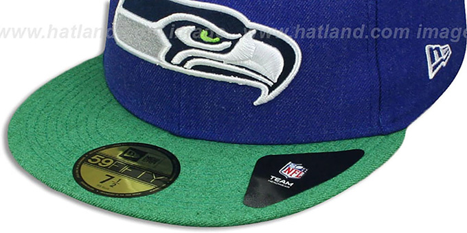 Seahawks '2T-HEATHER ACTION' Royal-Green Fitted Hat by New Era