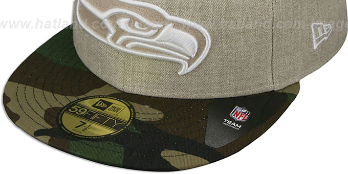 Seahawks '2T-HEATHER' Oatmeal-Army Fitted Hat by New Era