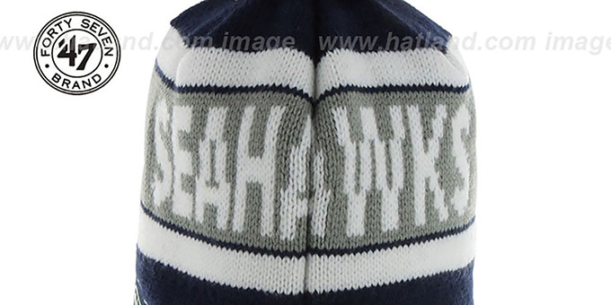 Seahawks 'CRANBROOK' Navy Knit Beanie Hat by Twins 47 Brand