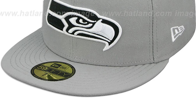 Seahawks 'NFL TEAM-BASIC' Grey-Black-White Fitted Hat by New Era