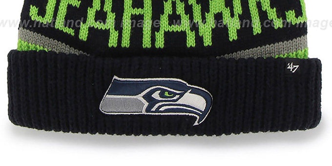 Seahawks 'THE-CALGARY' Navy-Lime Knit Beanie Hat by Twins 47 Brand