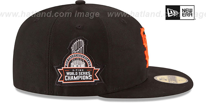 SF Giants 8X 'TITLES SIDE-PATCH' Black Fitted Hat by New Era