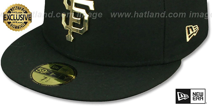 SF Giants 'GOLD METAL-BADGE' Black Fitted Hat by New Era