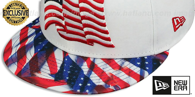 Stars and Stripes 'USA WAVING-FLAG' White Fitted Hat by New Era
